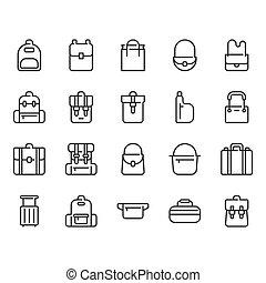 Bag icon set. Vector illustration