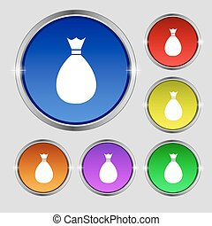 Bag icon sign. Round symbol on bright colourful buttons. Vector
