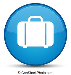 Bag icon special cyan blue round button