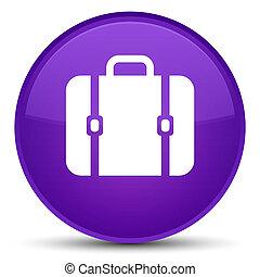 Bag icon special purple round button