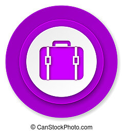 bag icon, violet button, luggage sign