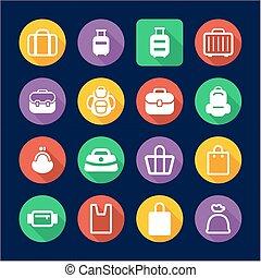 Bag Icons Flat Design Circle