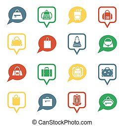 Bag icons in speech bubbles for app