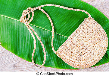 Bag made from dry Water hyacinth.