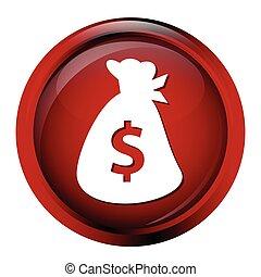 Bag money button symbol icon