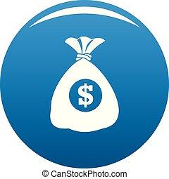 Bag money icon blue vector