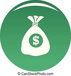 Bag money icon vector green