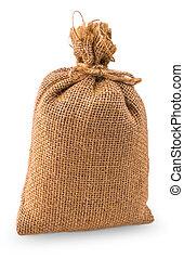 Bag of burlap isolated on white
