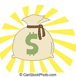 Bag of Cash - Money Bag Sack With A Dollar Symbol And Bright...