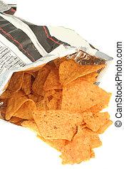 bag of chips - opened bag of tortilla chips spilling out