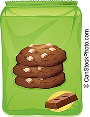 Bag of chocolate cookies illustration