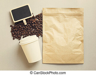 Bag of coffee and blank blackboard with paper cup, retro filter