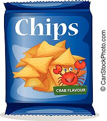 Bag of corn chips crab flavor