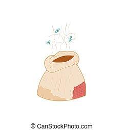 Bag of fertilizers icon, cartoon style
