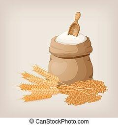 bag of flour and shovel, wheat, ears.