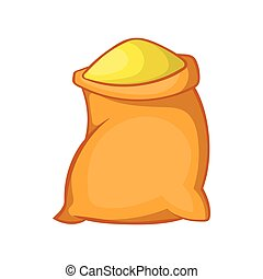 Bag of flour icon in cartoon style