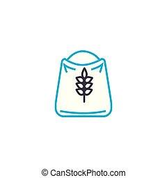 Bag of flour linear icon concept. Bag of flour line vector sign, symbol, illustration.