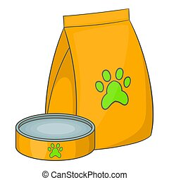 Bag of food for pets and food bowl icon