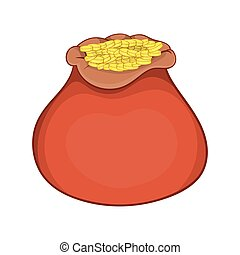 Bag of gold coins icon, cartoon style