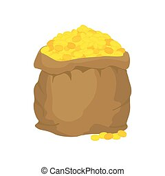 Bag of gold. Many gold coins. Open sack full of treasures. Golden wealth.