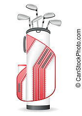 bag of golf clubs vector illustration isolated on white...