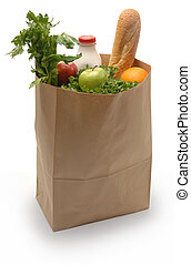Brown paper bag filled with groceries on a white background