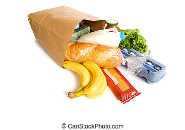 Bag of Groceries on WHite - A brown paper bag full of...
