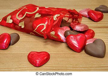 Bag of Heart shaped chocolates