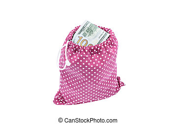 Bag of money - Bag full of 100 dollar bills on white ...