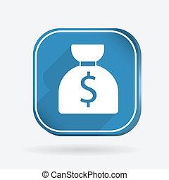 bag of money. Color square icon