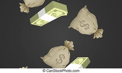 Bag of money falling HD animation