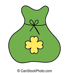 bag of money with clover isolated icon