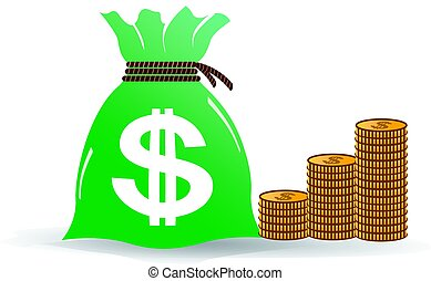 Bag of Money with Golden Coins Illustration
