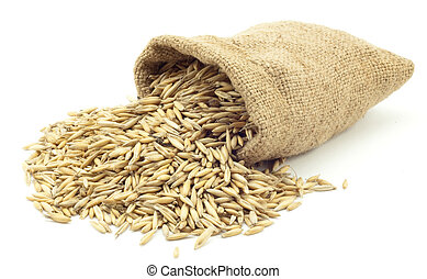 bag of oats on a white background