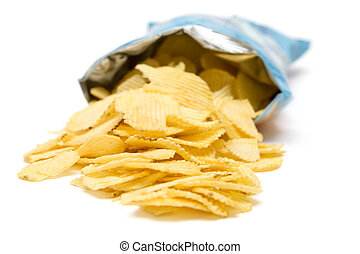 Bag of Potato Chips - Bag of golden chips isolated on a...
