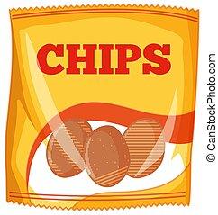 Bag of potato chips on white background