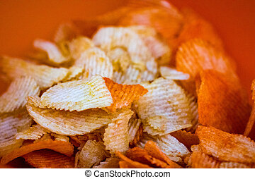 Bag of Potato Chips. Potato chips  packing close up