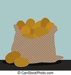 Bag of potato, illustration, vector on white background.