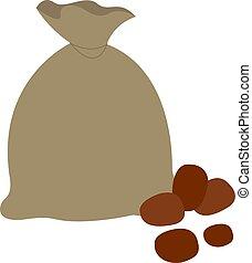 Bag of potatoes, illustration, vector on white background.