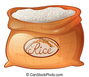 Bag of rice on white background