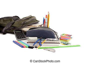 bag of school materials