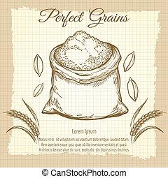 Bag of wheat flour vintage poster