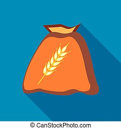Bag of wheat seeds icon in flat style