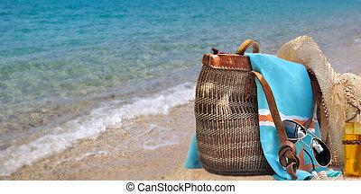 bag on sea background