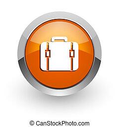 bag orange glossy web icon