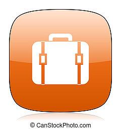 bag orange square web design glossy icon