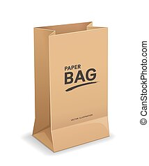 Bag paper brown color template mock up design, isolated on white background
