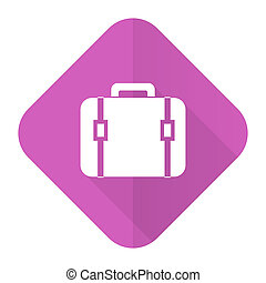 bag pink flat icon luggage sign