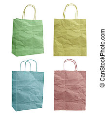 bag recycle paper craft stick icon on white background