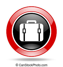 bag red and black web glossy round icon